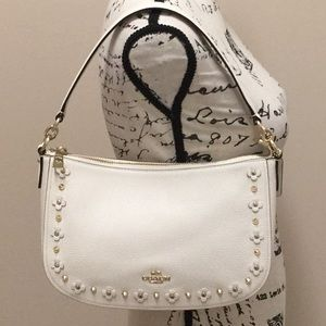 Coach ivory pebble leather shoulder/cross body bag